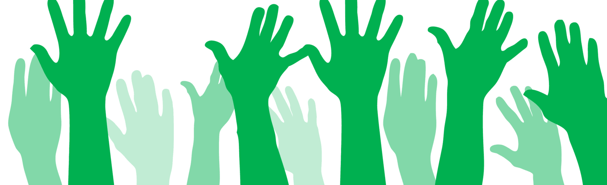 Image of the silhouettes of green hands raised