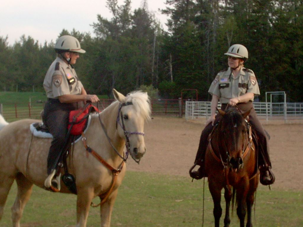 Two officers on horseback talking to each other